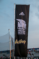 Adidas Grand Prix Dream Mile/100-meters banner at the 2015 Kansas Relays.