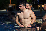 Ben MAy. Maori All Blacks Tour of Fiji. Swim after the flight. Hilton Hotel, Fiji. July 8 2015. Photo: Marc Weakley
