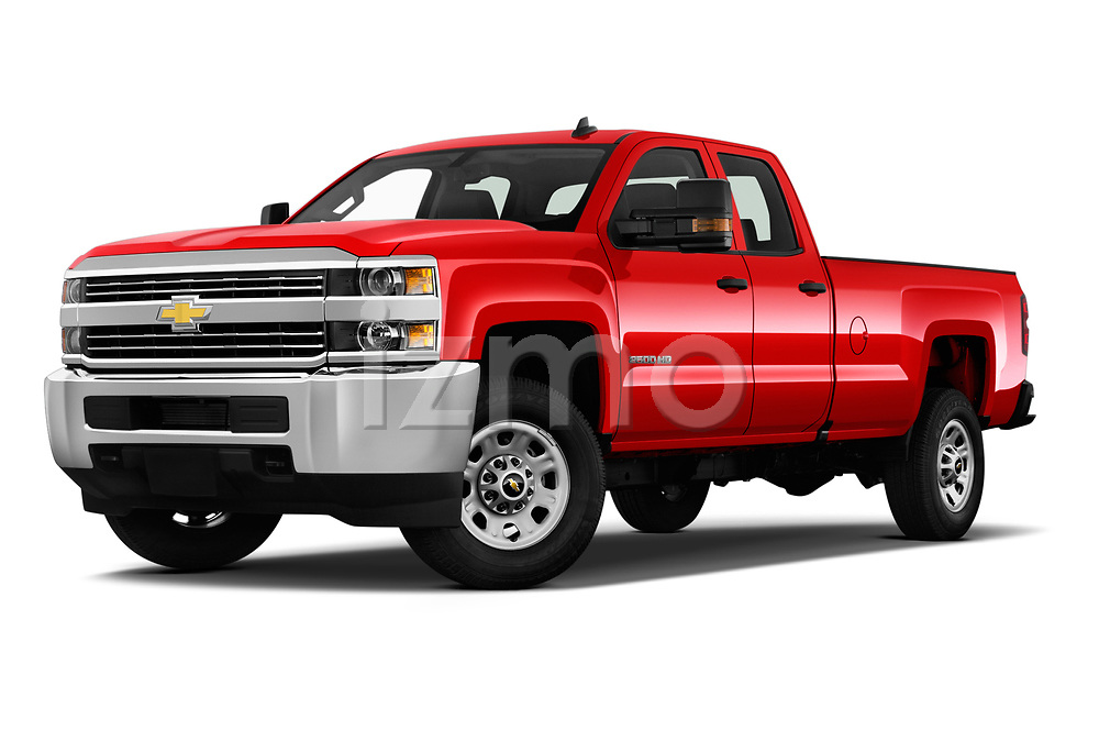 Stock pictures of low aggressive front three quarter view of a 2018 Chevrolet Silverado 2500HD Work Truck Long Box Double Cab 4 Door Pick Up