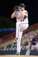 Richmond Flying Squirrels starting pitcher Kyle Crick (49) in action against the New Hampshire Fisher Cats at The Diamond on June 13, 2014 in Richmond, Virginia.  The Fisher Cats defeated the Flying Squirrels 6-3.  (Brian Westerholt/Four Seam Images)
