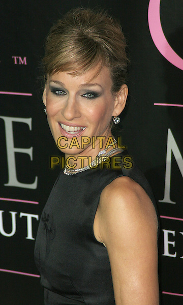 "SARAH JESSICA PARKER .""Sex and the City: The Movie"" - Extended Cut DVD Launch Party.at the New York Public Library at 42nd ..Sept 18, 2008 - New York, NY).portrait headshot hair up do black dress  sleeveless fringe white feather print silver necklace earrings .CAP/LNC/JK.©LNC/Capital Pictures"