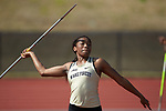 Brionne Pyles of the Wake Forest Demon Deacons competes in the javelin portion of the heptathlon at the Charlotte Invitational at the Irwin Belk Track & Field Center on April 14, 2018 in Charlotte, North Carolina.  (Brian Westerholt/Sports On Film)