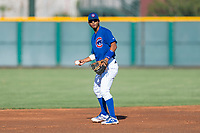 AZL Cubs 1 shortstop Josue Huma (13) during an Arizona League game against the AZL Indians 1 at Sloan Park on August 27, 2018 in Mesa, Arizona. The AZL Cubs 1 defeated the AZL Indians 1 by a score of 3-2. (Zachary Lucy/Four Seam Images)