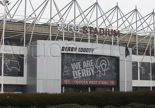 03.04.2015.  Derby, England. Skybet Championship. Derby versus Watford. Front view of the IPro Stadium.