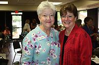 NWA Democrat-Gazette/CARIN SCHOPPMEYER Rev. Pam Cicioni, Healing Gardens co-founder (left) and Jennifer Griess Brennan, Sprouting Hope keynote speaker, attend the luncheon on Sept. 28.