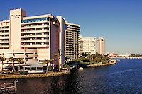 The Radisson Bridge Hotel on Boca Raton Lake in Boca Raton, resorts, vacations, cityscape, skyline. Florida, Boca Raton Lake.