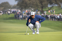 25th January 2020, Torrey Pines, La Jolla, San Diego, CA USA;  Tiger Woods lines up a put on the 5th hole during round 3 of the Farmers Insurance Open at Torrey Pines Golf Club on January 25, 2020