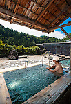 Visitors enjoy the rotenburo outdoor bath at Seifuso in Odate City, Akita Prefecture Japan.  Photographer: Rob Gilhooly