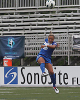 Boston Breakers forward Kyah Simon (17). In a National Women's Soccer League Elite (NWSL) match, Sky Blue FC (white) defeated the Boston Breakers (blue), 3-2, at Dilboy Stadium on June 16, 2013.