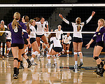SIOUX FALLS, SD - OCTOBER 14: Augustana celebrates winning the second game of their match against the University of Sioux Falls Tuesday night at the Elmen Center. (Photo by Dave Eggen/Inertia)