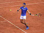 11th June 2017, Roland Garros, Paris, France;  Rafael Nadal (ESP) in action winning his 10th men's singles French Open title, defeating Stan Wawrinka (SUI)