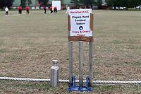 Players hand sanitiser station during Hornchurch CC vs Buckhurst Hill CC (batting), Essex Cricket League Cricket at Harrow Lodge Park on 25th July 2020