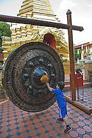 Bangkok the temple gong at Wat Sareerikatart Sirirak in Chiang Mai's old city.