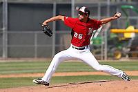 John Salas #25 of the Cal State Northridge Matadors pitches against the UC Santa Barbara Gauchos at Matador Field on May 12, 2013 in Northridge, California. Cal State Northridge defeated UC Santa Barbara 7-1. (Larry Goren/Four Seam Images)