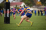 Joshua Van Lieshout dots down near the sticks for Patumahoe.  Counties Manukau Premier Club Rugby game between Patumahoe and Ardmore Marist, played at Patumahoe, on Saturday June 07 2014. Patumahoe won the game 23- 3 after being 3 all at halftime  Photo by Richard Spranger