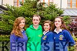 Elmer O'Neill from Pobail Scoil Chorca Dhuibhne, Paddy Flynn from St Pat's Castleisland, Niamh Ní Laoithe and Hannah Ní Loingsigh from Pobail Scoil Chorca Dhuibhne at the Kerry Comhairle na nOg on Friday in the Fels Point Hotel in Tralee.