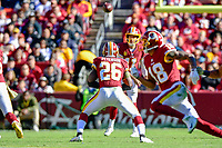 Landover, MD - November 4, 2018: Washington Redskins running back Adrian Peterson (26) catches a pass across the middle from Washington Redskins quarterback Alex Smith (11) during game between the Atlanta Falcons and the Washington Redskins at FedEx Field in Landover, MD. The Falcons defeated the Redskins 38-13. (Photo by Phillip Peters/Media Images International)