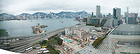 Panorama of the view from Joe and Karen's hotel room Hong Kong, China