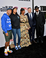 "LOS ANGELES, USA. June 04, 2019: Pharrell Williams, Helen Lasichanh, Nicole Avant, Ted Sarandos & Jimmy Jam at the premiere for ""The Black Godfather"" at Paramount Theatre.<br /> Picture: Paul Smith/Featureflash"
