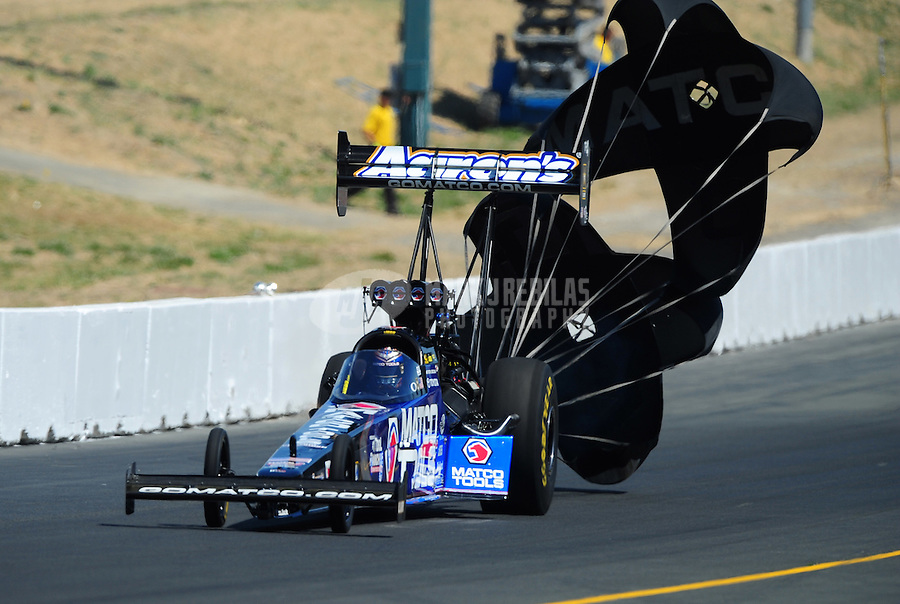 Jul. 30, 2011; Sonoma, CA, USA; NHRA top fuel dragster driver Antron Brown during qualifying for the Fram Autolite Nationals at Infineon Raceway. Mandatory Credit: Mark J. Rebilas-