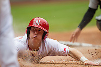 Nebraska Cornhuskers second baseman Jake Schleppenbach (6) slides safely at home plate during the NCAA baseball game against the Hawaii Rainbow Warriors on March 7, 2015 at the Houston College Classic held at Minute Maid Park in Houston, Texas. Nebraska defeated Hawaii 4-3. (Andrew Woolley/Four Seam Images)