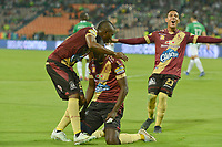 MEDELLÍN - COLOMBIA ,16-05-2019.Marco Perez jugador del  Deportes Tolima celebra después de anotar un gol al Atlético Nacional durante partido por los cuadrangulares finales del  grupo B de la Liga Águila I 2019 jugado en el estadio Atanasio Girardot de la ciudad de Medellín. /Marco Perez player of Deportes Tolima celebrates after scoring a goal against of Atletico Nacional during  the second  match for the quarter finals B of the Liga Aguila I 2019 played at the Atanasio Girardot  Stadium in Medellin  city. Photo: VizzorImage / León Monsalve / Contribuidor.