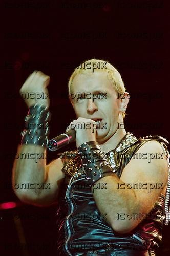 JUDAS PRIEST - vocalist Rob Halford performing live on the Screaming For Vengence Tour at The Long Beach Arena in Long Beach, CA USA - Nov 21, 1982.  Photo © Kevin Estrada / Iconicpix