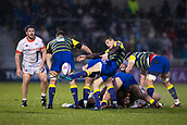 9th December 2017, AJ Bell Stadium, Salford, England; European Rugby Challenge Cup, Sale Sharks versus Cardiff Blues; Cardiff Blues' Lloyd Williams clears the ball
