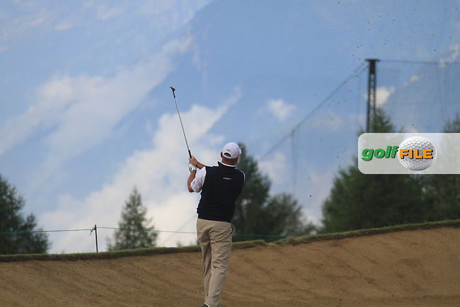 Thomas Bjorn (DEN) on the 17th during the 1st day of the Omega European Masters, Crans-Sur-Sierre, Crans Montana, Switzerland..Picture: Golffile/Fran Caffrey..