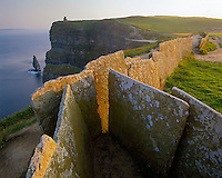 County Clare, Ireland                <br /> Stone pathway and slab fence leading to O'Brien's Tower on the Cliffs of Moher, on Ireland's west coast