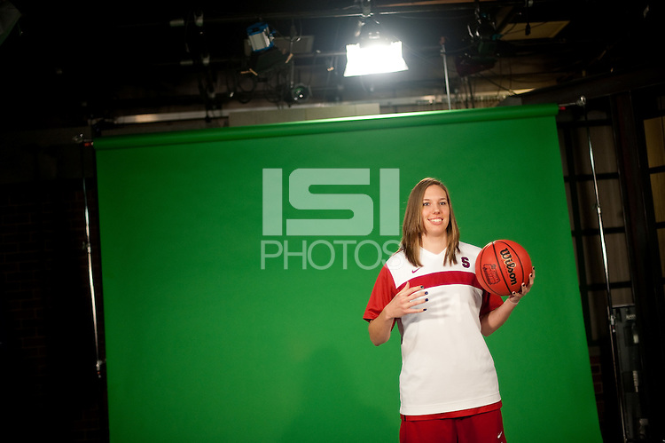 INDIANAPOLIS, IN - APRIL 1, 2011: Kayla Pedersen  prepares for an on camera taping at Conseco Fieldhouse during the NCAA Final Four in Indianapolis, IN on April 1, 2011.