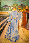 Detail of 'The Woman on the Jetty' 1902-03 oil painting on canvas by Edvard Munch 1863-1944, Kode 3 art gallery Bergen, Norway
