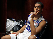 Andre Dawkins reflects in the locker room after the game. Lehigh defeated Duke 75-70 during the 2nd round of the 2012 NCAA Basketball Championship at the Greensboro Coliseum in Greensboro, NC. Photo by Al Drago.