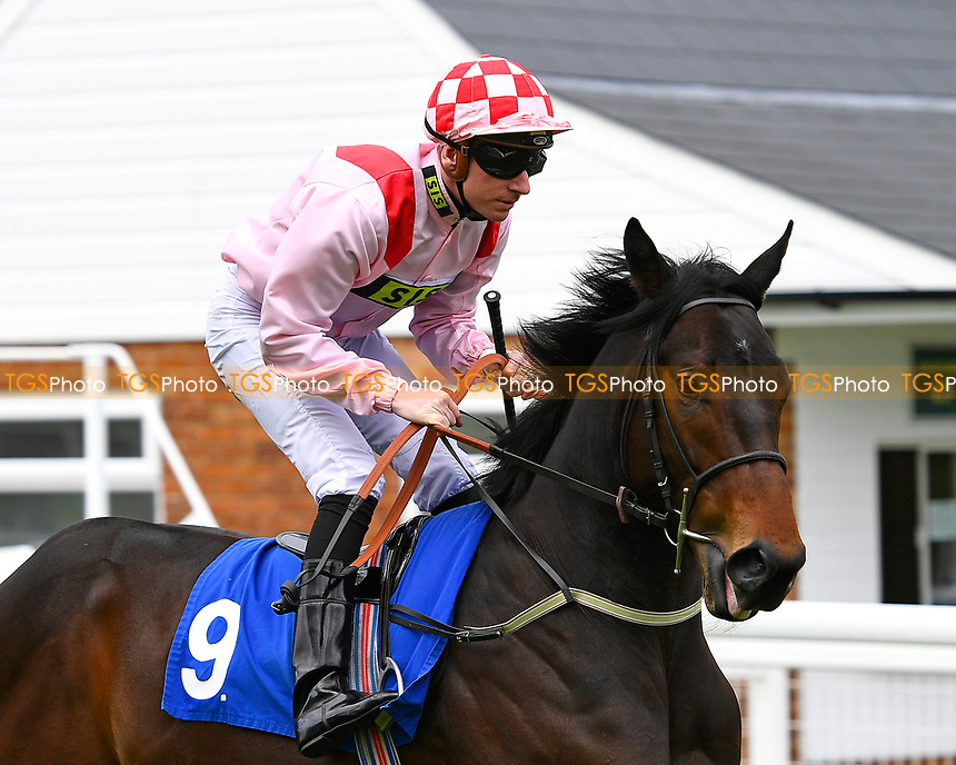 Youkan ridden by Martin Lane go down to the start of the first race during Afternoon Racing at Salisbury Racecourse on 18th May 2017