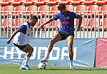 Atletico de Madrid's Renan Lodi (l) and Diego Costa during training session. May 30,2020.(ALTERPHOTOS/Atletico de Madrid/Pool)