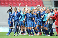 The French squad celebrate on the win during the UEFA Womens U19 Semi-Final at Parc y Scarlets Wednesday 28th August 2013. All images are the copyright of Jeff Thomas Photography-www.jaypics.photoshelter.com-07837 386244-Any use of images must be authorised by the copyright owner.