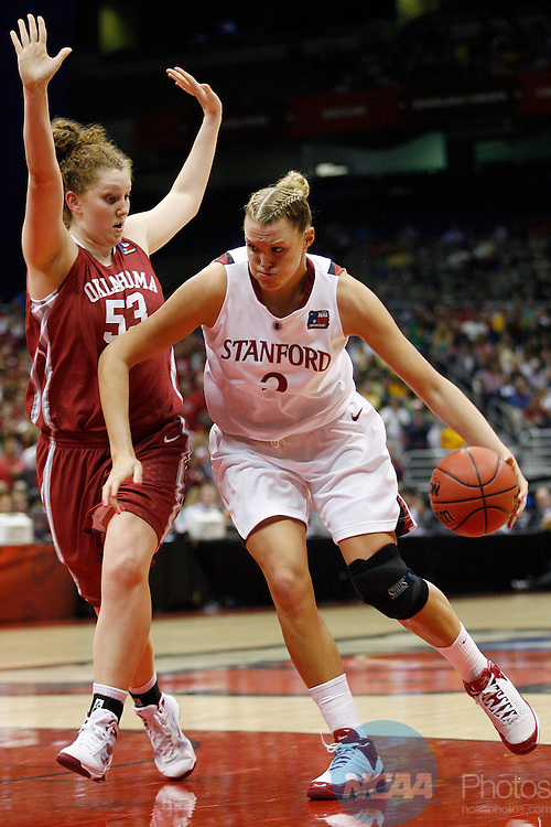 04 APR 2010:  Jayne Appel (2) of Stanford University drives to the hoop against Joanna McFarland (53) of the University of Oklahoma during the Division I Women's Basketball Semifinals held at the Alamodome during the 2010 Women's Final Four in San Antonio, TX.  Stanford defeated Oklahoma 73-66 to advance to the finals.  Jamie Schwaberow/NCAA Photos