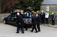 Pictured: The casket of Carson Price is carried into the Gelligaer Church, in Gelligaer, Wales, UK Tuesday 07 May 2019<br /> Re: Funeral of 13 year old Carson Price at Gelligaer Church, in Gelligaer, Wales, UK.<br /> Schoolboy Carson Price was found at a park in Ystrad Mynach, south Wales at the start of the Easter school holidays.<br /> It is believed he had taken MDMA Donkey Kong tablets.