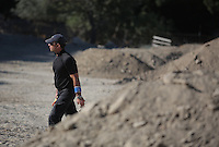 Pictured: A forensic officer operates at the site where Ben Needham disappeared from in Kos, Greece. Friday 14 October 2016<br /> Re: Police teams led by South Yorkshire Police are searching for missing toddler Ben Needham on the Greek island of Kos.<br /> Ben, from Sheffield, was 21 months old when he disappeared on 24 July 1991 during a family holiday.<br /> Digging has begun at a new site after a fresh line of inquiry suggested he could have been crushed by a digger.