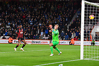 Jonas Lossl of Huddersfield Town watches the shot from Callum Wilson of AFC Bournemouth hit the net for the first goal watches during AFC Bournemouth vs Huddersfield Town, Premier League Football at the Vitality Stadium on 4th December 2018