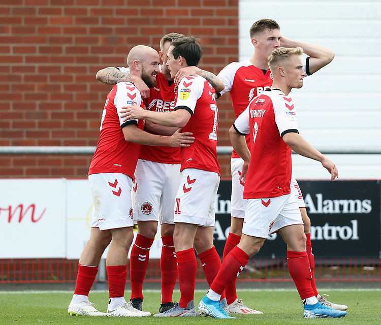 Fleetwood Town's Paddy Madden (left) celebrates with team-mates after scoring the opening goal  <br /> <br /> Photographer Rich Linley/CameraSport<br /> <br /> The EFL Sky Bet League One - Fleetwood Town v Oxford United - Saturday 7th September 2019 - Highbury Stadium - Fleetwood<br /> <br /> World Copyright © 2019 CameraSport. All rights reserved. 43 Linden Ave. Countesthorpe. Leicester. England. LE8 5PG - Tel: +44 (0) 116 277 4147 - admin@camerasport.com - www.camerasport.com