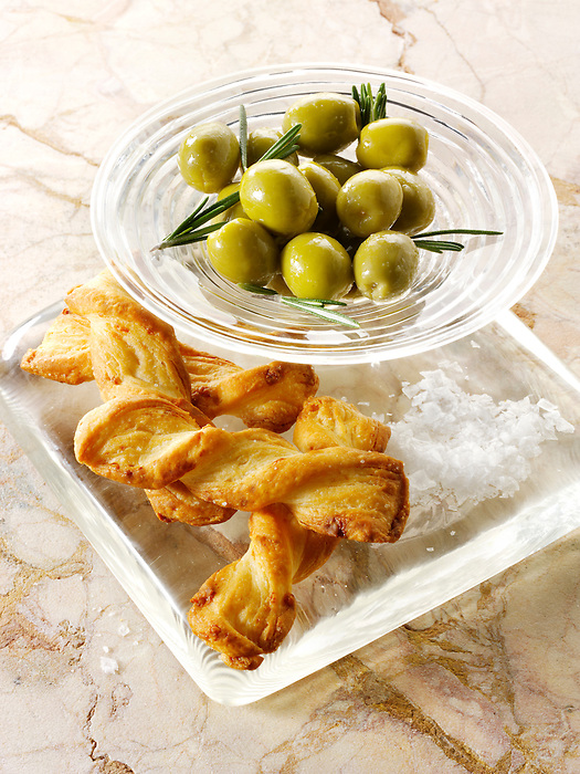 Olives and bread sticks snack