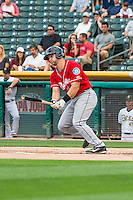 Mike Zunino (23) of the Tacoma Rainiers at bat against the Salt Lake Bees in Pacific Coast League action at Smith's Ballpark on September 1, 2015 in Salt Lake City, Utah. The Bees defeated the Rainiers 10-1.  (Stephen Smith/Four Seam Images)