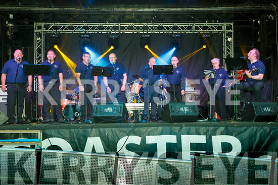 The Iveragh Mens Choir providing support for the Frank & Walters on the opening night pictured l-r: Hugh Horgan, Mike Horgan, Dan Dennehy, Paddy Coffey, Tony Horgan, Dermot Foley, Eamon Bowler & Stephen McCrohan.