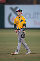 AZL Athletics right fielder Greg Deichmann (6) during an Arizona League game against the AZL Angels at Tempe Diablo Stadium on June 26, 2018 in Tempe, Arizona. The AZL Athletics defeated the AZL Angels 7-1. (Zachary Lucy/Four Seam Images)