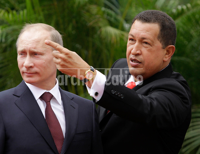 Prime Minister of the Russian Federation Vladimir Putin  and Venezuela President Hugo Chavez at Miraflores Presidential Palace in Caracas.Putin visited Caracas for the first time to sign bilateral agreements on energy and defense.
