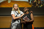 27 June, 2018, Kuala Lumpur, Malaysia : Mabel van Orange with Franciose Kpelgo Moudouthe  at the closing address following the completion of the Girls Not Brides Global Meeting 2018 at the Kuala Lumpur Convention Centre. Picture by Graham Crouch/Girls Not Brides