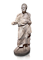Roman statue of Emperor Priest. Marble. Perge. 2nd century AD. Inv no . Antalya Archaeology Museum; Turkey. Against a white background.