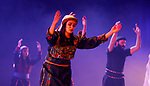 """Palestinian members of """"Weshah"""" dancing band, perform during at Ramallah cultural palace theater, in the West Bank city of Ramallah, March 17, 2019. Photo by Mohammed Nofal / WAFA / APAimages"""