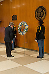On his first day at work, António Guterres, the new United Nations Secretary-General, laid a wreath